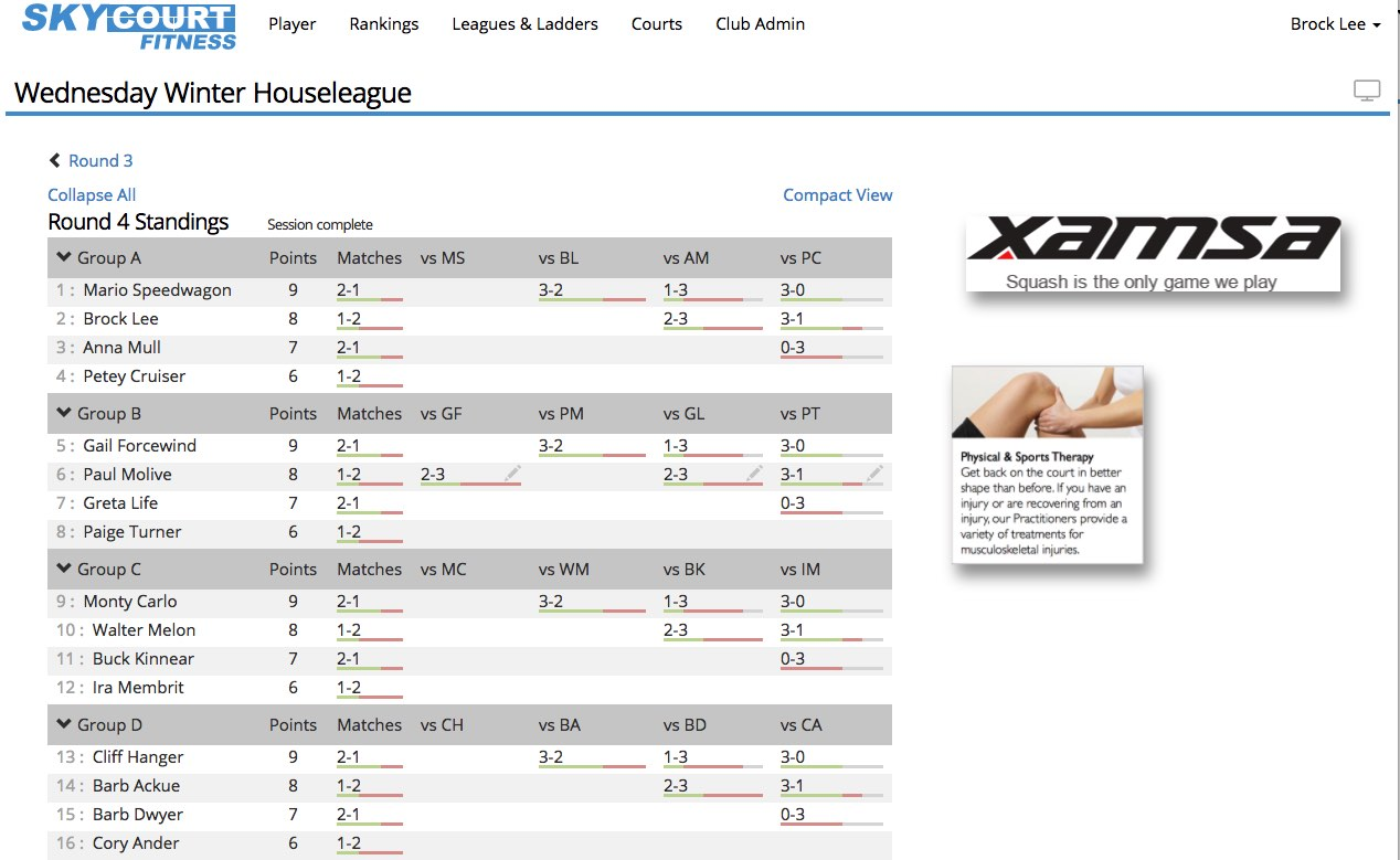 SkyCourt screen shot showing a house league ranking screen for the current session with Sponsor Ads on the side