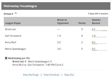 A partial screen shot from SkyCourt showing the view of a house league from the player's home page. The view shows the other players in the box for the session and each person's score. It also shows the schedule of the next set of matches for the group.