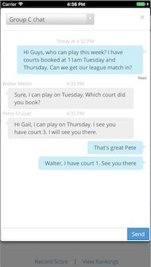 SkyCourt on a mobile device showing the instant messaging capability. A group of players are having a conversation arranging when to play a match